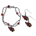 Arizona Cardinals Dangle Earrings and Crystal Bead Bracelet Set