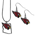 Arizona Cardinals Dangle Earrings and State Necklace Set