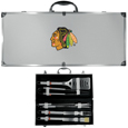 Chicago Blackhawks® 8 pc Stainless Steel BBQ Set w/Metal Case