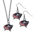 Columbus Blue Jackets® Dangle Earrings and Chain Necklace Set