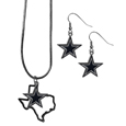 Chrome Dangle Earrings and State Necklace